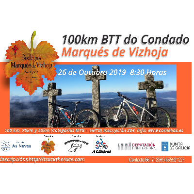 Cartel del evento 100 KMS BTT do Condado - Marqués de Vizhoja 2019